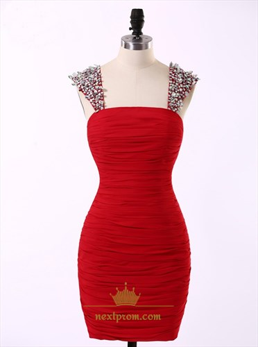 Red Knee Length Ruched Chiffon Sheath Cocktail Dress With Beaded Strap