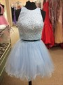 Light Blue Sleeveless Two-Piece Beaded Bodice Tulle Homecoming Dress