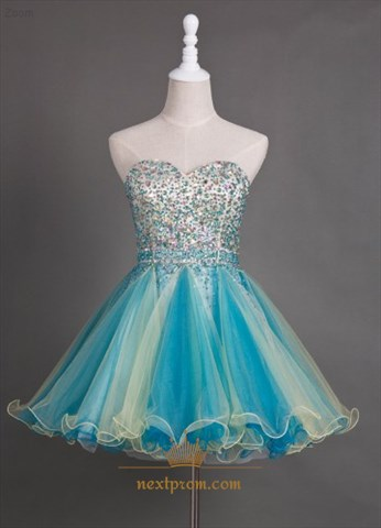 Short Strapless Sweetheart Beaded Bodice A-Line Tulle Homecoming Dress