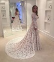 Elegant Illusion Lace Overlay Long Sleeve Wedding Dress With Train