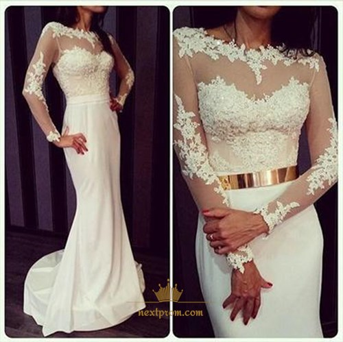 White Mermaid Long Sleeve Lace Chiffon Wedding Dress With Illusion Top