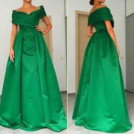 Elegant Emerald Green Off Shoulder A-Line Floor Length Formal Dress