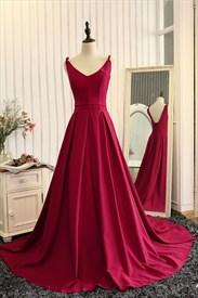 Burgundy Sleeveless V-Neck A-Line Floor Length Ball Gown Prom Dress