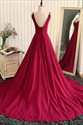 Burgundy Sleeveless V-Neck A-Line Floor Length Ball Gown Prom Dress