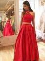 Red Two-Piece A-Line Floor Length Sleeveless Lace Top Evening Dress