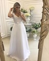 White A-Line Cap Sleeve Lace Bodice Wedding Dress With Beaded V-Neck