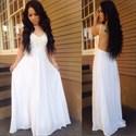 White A-Line Spaghetti Strap Lace Chiffon Wedding Dress With Open Back