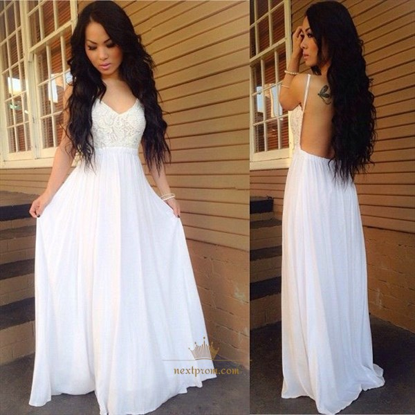 White A-Line Spaghetti Strap Lace Chiffon Wedding Dress With Open Back