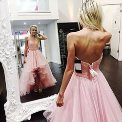 Pink Halter Beaded Bodice High-Low A-Line Prom Dress With Open Back