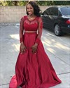 Burgundy Long Sleeve Two-Piece A-Line Prom Dress With Illusion Bodice