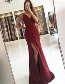 Elegant Burgundy V-Neck Sleeveless Long Evening Dress With Front Split