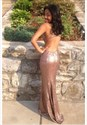 Simple Sheer Sleeveless Sequin Cut Out Waist Floor Length Prom Dress