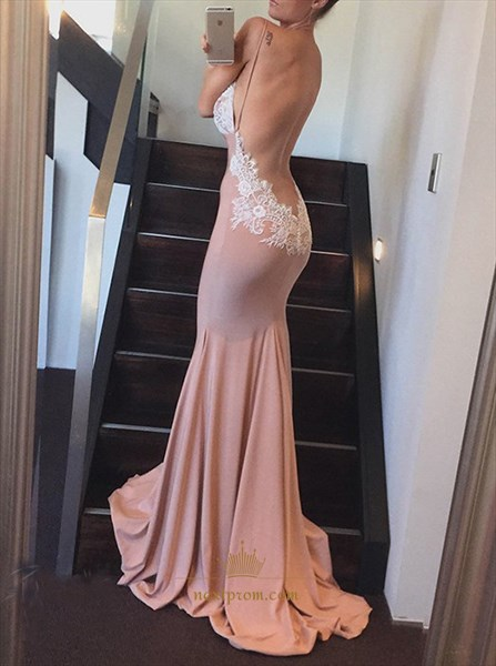 Open Back Mermaid Spaghetti Strap V Neck Lace Embellished Prom Dress
