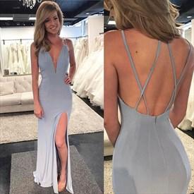 Grey Spaghetti Strap Plunge V Neck Chiffon Evening Dress With Split