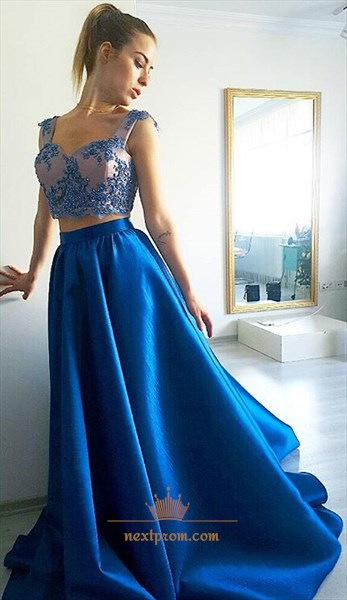Royal Blue Two Piece Sweetheart A-Line Prom Dress With Lace Beaded Top