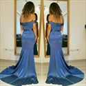Blue Off The Shoulder Floor Length Side Split Prom Dress With Ruffles