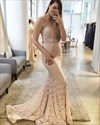 Strapless Mermaid Lace Floor Length Evening Dress With Beaded Waist