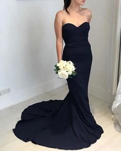 Simple Black Strapless Sweetheart Floor Length Mermaid Evening Dress
