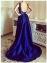 Royal Blue Scoop Neck Sleeveless High-Low Evening Dress With Open Back
