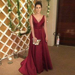 Burgundy Floor Length A-Line V Neck Sleeveless Backless Formal Dress
