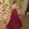 Burgundy Floor Length A-Line V Neck Sleeveless Backless Formal Dress