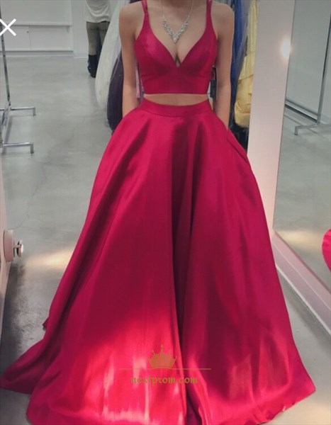 Two-Piece A-Line Sleeveless Plunge V-Neck Satin Prom Gown With Pockets