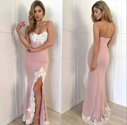 Strapless Sweetheart Lace Embellished Chiffon Evening Dress With Split