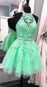 Sleeveless Halter Applique Tulle Short Homecoming Dress With Open Back