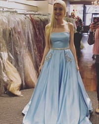 Light Blue Strapless A-Line Jewel Embellished Prom Dress With Pockets