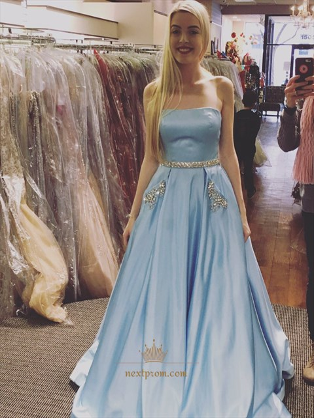 Light Blue Strapless A-Line Jewel Embellished Prom Dress With Pockets