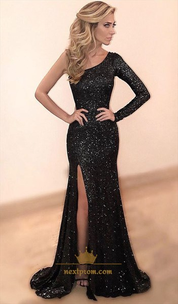Black One Shoulder Long Sleeve Sequin Mermaid Prom Dress With Split