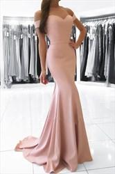 Pink Off The Shoulder Sweetheart Floor Length Mermaid Evening Dress