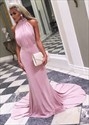 Pink Elegant High-Neck Sleeveless Ruched Bodice Mermaid Evening Dress