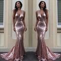 Pink Sequin Spaghetti Strap V-Neck Mermaid Floor Length Evening Dress