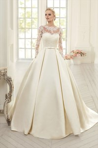Long Sleeve Illusion Bodice A-Line Satin Wedding Dress With Open Back
