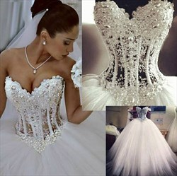 Strapless Illusion Beaded Corset Bodice A-Line Tulle Wedding Dress