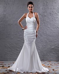 Elegant White Halter Neck Floor Length Lace Embellished Wedding Dress