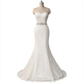 Strapless Sweetheart Lace Floor Length Mermaid Wedding Dress