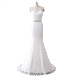 Sleeveless Illusion Neckline Lace Floor Length Mermaid Wedding Dress