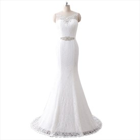 Sleeveless Illusion Neckline Lace Floor Length Mermaid Wedding Dress