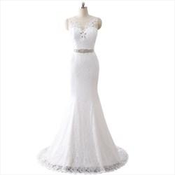 Illusion Sleeveless Floor Length Lace Overlay Mermaid Wedding Dress