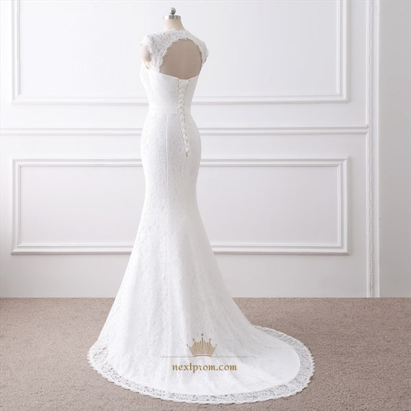 Cap Sleeve Lace Floor Length Mermaid Wedding Dress With Keyhole Back