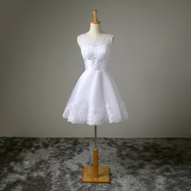A-Line Sleeveless Short Beaded Neckline Lace Embellished Wedding Dress