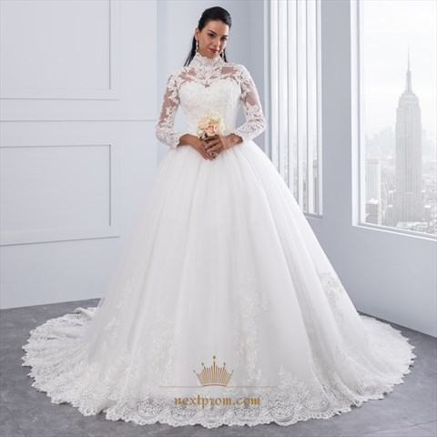 High-Neck Long Sleeve Lace Embellished A-Line Ball Gown Wedding ...