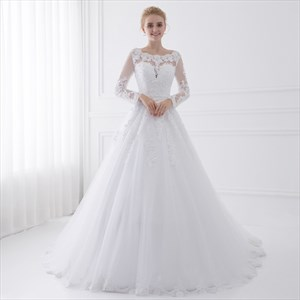 Illusion Long Sleeve Floor Length A-Line Tulle Ball Gown Wedding Dress