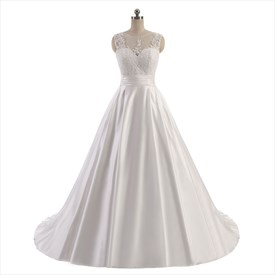 Sleeveless Illusion Neckline Floor Length A-Line Satin Wedding Dress