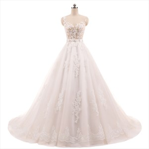 Sleeveless Illusion Bodice Lace Embellished Wedding Dress With Belt