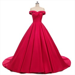 Elegant Off Shoulder A-Line Floor Length Satin Ball Gown Prom Dress