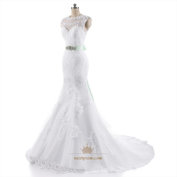 White Cap Sleeve Mermaid Lace Embellished Wedding Gown With Waistband