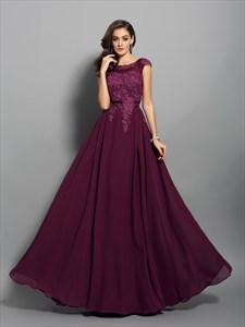 Grape Cap Sleeve Lace Chiffon V-Back A-Line Floor Length Evening Dress